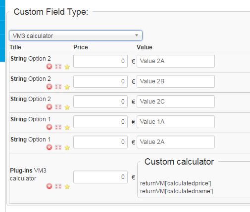 Calcbuilder extended + Virtuemart integration:calculator inside