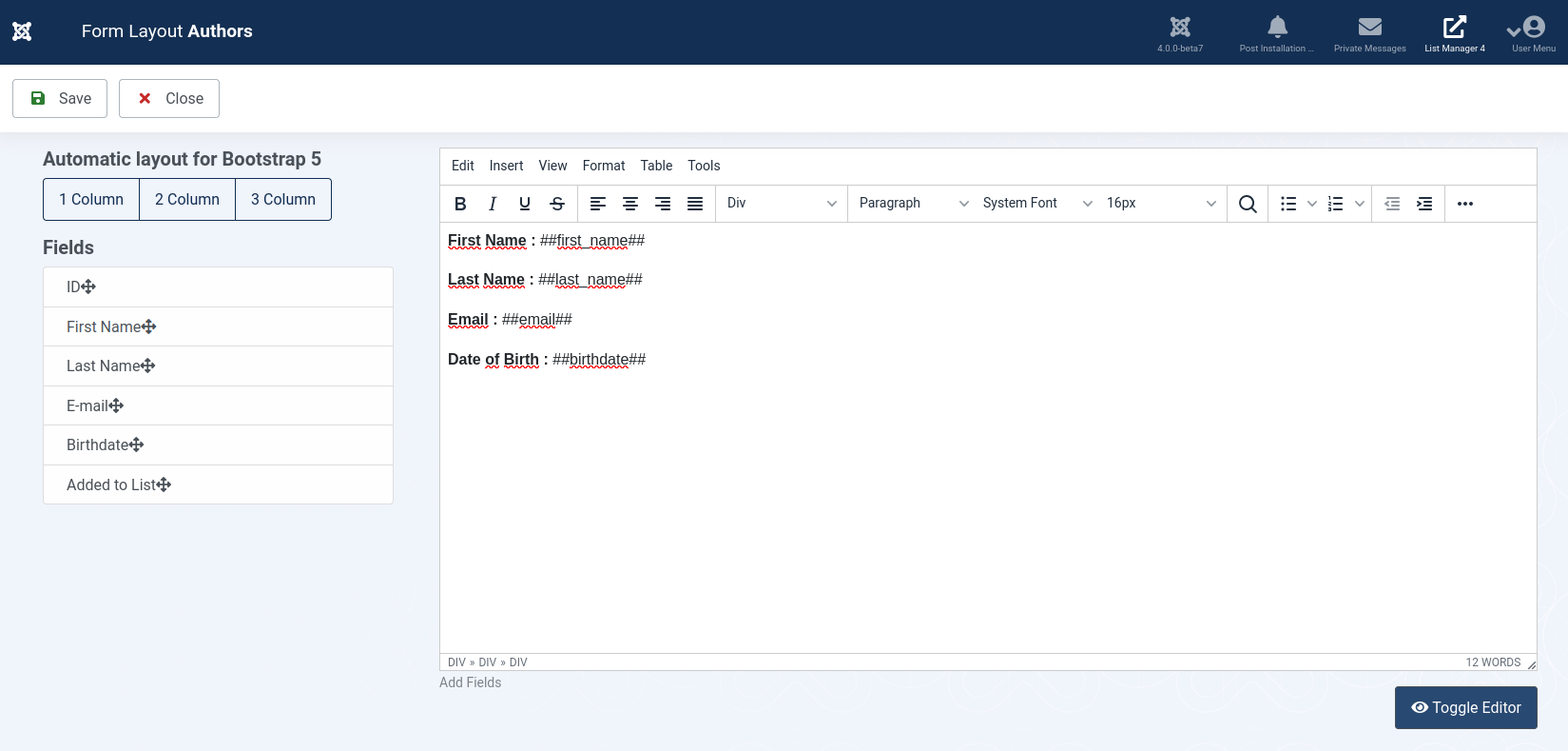 List Manager for Joomla 4